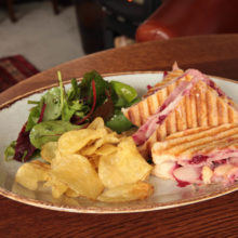 Bacon brie and cranberry toastie